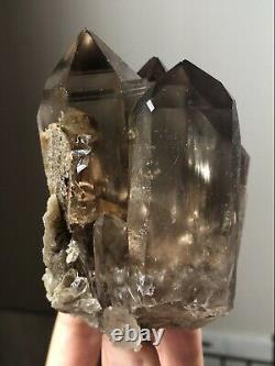 1Lb Natural Smoky Quartz Cluster Window Quartz Crystal Dissolved Quartz Brazil