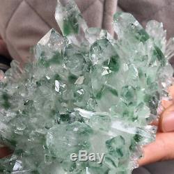 2.0lb Huge Green Phantom Quartz Crystal Cluster Healing Mineral Specimen 31020
