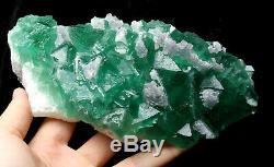 2.1lb NATURAL Calcite Octahedral Green FLUORITE Crystal Cluster Mineral Specimen