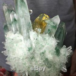 2.3lb Huge Clear Green Phantom Quartz Crystal Cluster Healing Mineral Specimen
