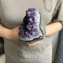 2.5LB Natural amethyst quartz geode crystal cluster specimen healing TQS3621