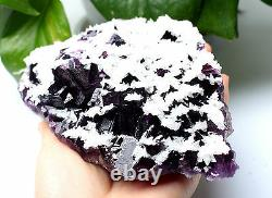 2.6lb NATURAL Purple FLUORITE with Calcite Crystal Cluster Mineral Specimen