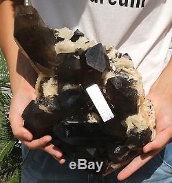 20.88lb Natural SMOKY CALCITE QUARTZ Crystal Cluster Specimen Healing+TOURMALINE