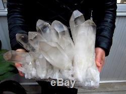 20.8lb HUGE NATURAL Clear Quartz Crystal cluster Points Specimens