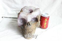 20.9LB Rare Natural Amethyst Quartz Crystal Cluster Skull Carved, Crystal Geode