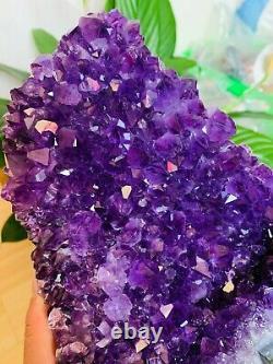 2065G Natural Amethyst geode quartz cluster crystal specimen Healing L894