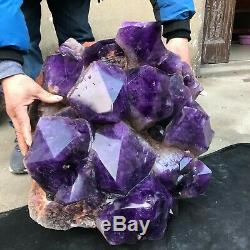213LB Natural Huge amethyst Cluster Rare Big Mac Quartz Crystal mineral Specimen