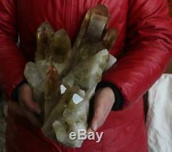 22.6LB Huge Natural Smokey Citrine Quartz Crystal Cluster Points Original Stone