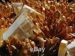 22.6Lbs Large Barite Crystals on Orange Quartz Cluster Mineral Display Specimen