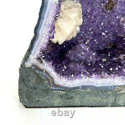 22.7 lb Natural Amethyst Geode Quartz Cluster Crystal 15 Tall 12x6 Felt Base