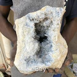 23.82LB Natural celestite geode quartz cluster crystal specimen healing MA2982