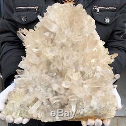 23 lb 15 Natural Beautiful Large Rock Crystal Quartz Cluster Specimen FR4