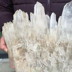 24.0lb 16.0 Natural Beautiful Rock Crystal Quartz Cluster Specimen FD20