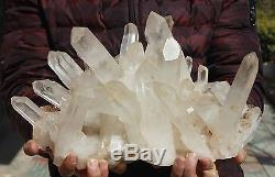 24.18lb AAA+++ Clear Natural White QUARTZ Crystal Cluster Specimen