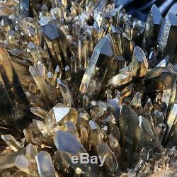 24.4LB Natural Black Quartz Cluster Crystal Mineral Specimen specime 14.5''TT553