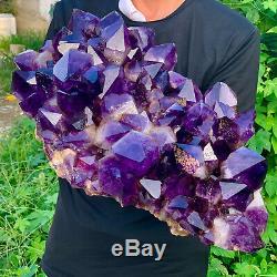 25.3LB Natural Amethyst geode quartz cluster crystal specimen Healing