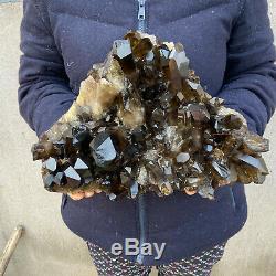 25 LB Huge Natural Smoky Quartz Cluster Healing Crystal Point Mineral Specimen