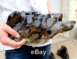 26.24lb Natural Rare Beautiful Black QUARTZ Crystal Cluster Mineral Specimen