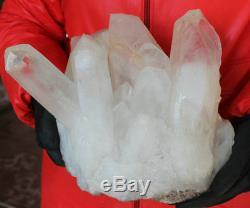 26.2LB 11.9kg Huge Raw Natural Clear White Quartz Crystal Cluster Points