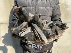 26.8 LBS Natural Smoky Quartz Cluster Healing Crystal Point Mineral Specimen B02