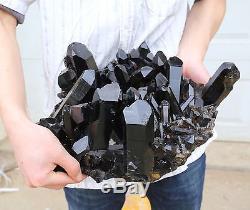 26.97lb Natural Rare Beautiful Black QUARTZ Crystal Cluster Mineral Specimen