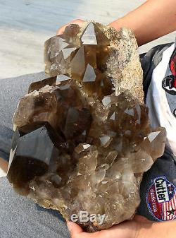 27.5lb Natural Smoky Quartz Hair Rutilated Crystal Polished Cluster Specimen