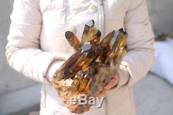 2700g Natural Beautiful Citrine Smoke Quartz Crystal Cluster Tibetan Specimen