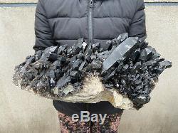 27LB Natural Large Smoky Quartz Cluster Healing Crystal Point Mineral Specimen