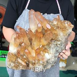 28.6LB Natural smokey quartz cluster crystal wand point reiki healing L6417