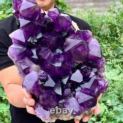 28.9LB Natural Amethyst geode quartz cluster crystal specimen Healing