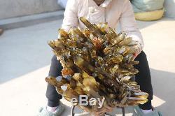 28000g Natural Beautiful Citrine Smoke Quartz Crystal Cluster Tibetan Specimen