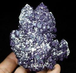 290g Cubic Purple Fluorite on Quartz cluster Mineral Specimen China CM640518
