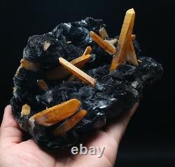 3.1lb Citrine Crystal Cluster & Flower Shape Specularite Mineral Specimen/China