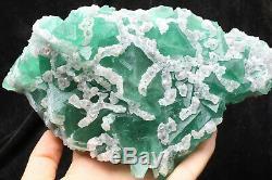 3.2lb NATURAL Calcite Octahedral Green FLUORITE Crystal Cluster Mineral Specimen