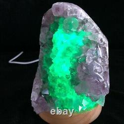 3.33LB Natural Amethyst lamp Geode Quartz Cluster Crystal Healing +Lamp holder