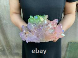 3.3LB titanium rainbow aura quartz cluster point healing crystal specimen reiki