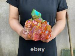 3.4LB titanium rainbow aura quartz cluster point healing crystal specimen reiki