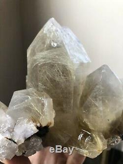 3.5Lb Rutilated Quartz Cluster Double Terminated Quartz Crystal Healed Brazil