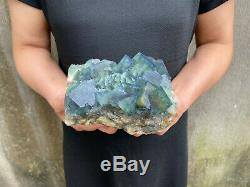 3.7LBS Natural Fluorite Cubes Quartz Crystal Cluster Mineral Specimen Healing B1