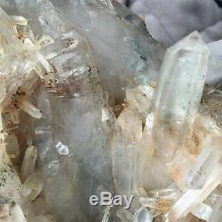 3.7lb Large Natural Clear Green Quartz Crystal Cluster Rough Specimen Healing