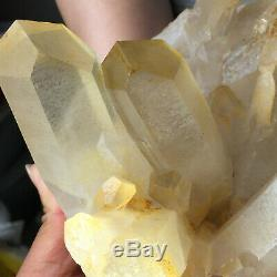 3.7lb Large Natural Clear Yellow Quartz Crystal Cluster Rough Healing Specimen