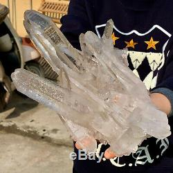 3.9LB Clear Natural Beautiful White QUARTZ Crystal Cluster Specimen DA766