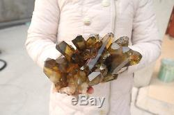 3100g Natural Beautiful Citrine Smoke Quartz Crystal Cluster Tibetan Specimen