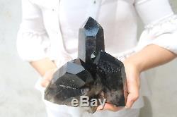 3180g Natural Beautiful Black Smoke Quartz Crystal Cluster Tibetan Specimen B803