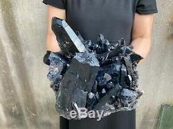 32.1LBS Natural Huge Black Quartz Crystal Cluster Mineral Specimen Healing
