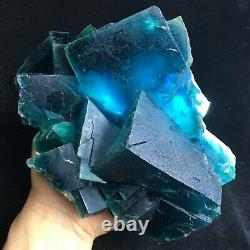 3205g BIG! Deep Green/Blue Cubic Fluorite Crystal Cluster Mineral Specimen