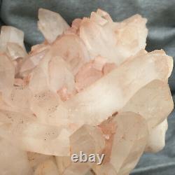3358g Large Natural Clear Pink Quartz Crystal Cluster Rough Healing Specimen