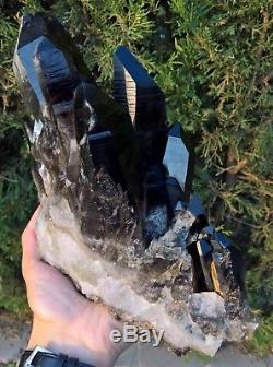 3397g Natural Rare Beautiful Black QUARTZ Crystal Cluster Mineral Specimen