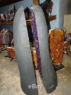 34 Inch Brazilian Amethyst Crystal Cathedral Cluster Geode Pair Museum Gd