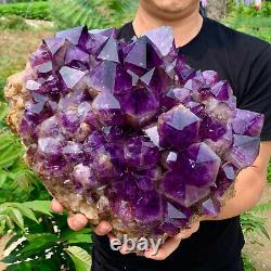 38.44LB Natural Amethyst geode quartz cluster crystal specimen Healing